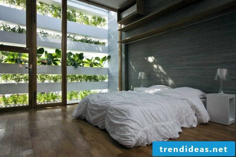 vertical garden minimalist bedroom with vertical greening