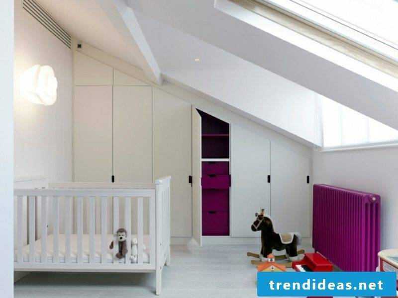walk-in closet under the roof sloping original white fronts children's room