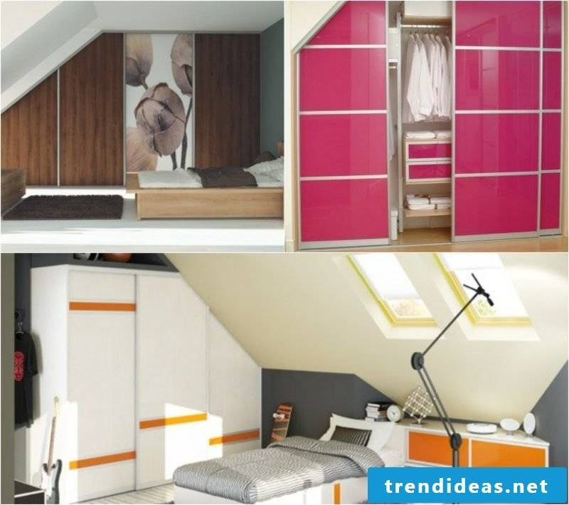 Wardrobes different fronts and colors sloping roof