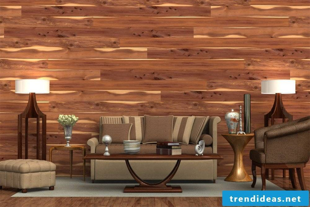 Wallcovering wood - the best idea for your living room design