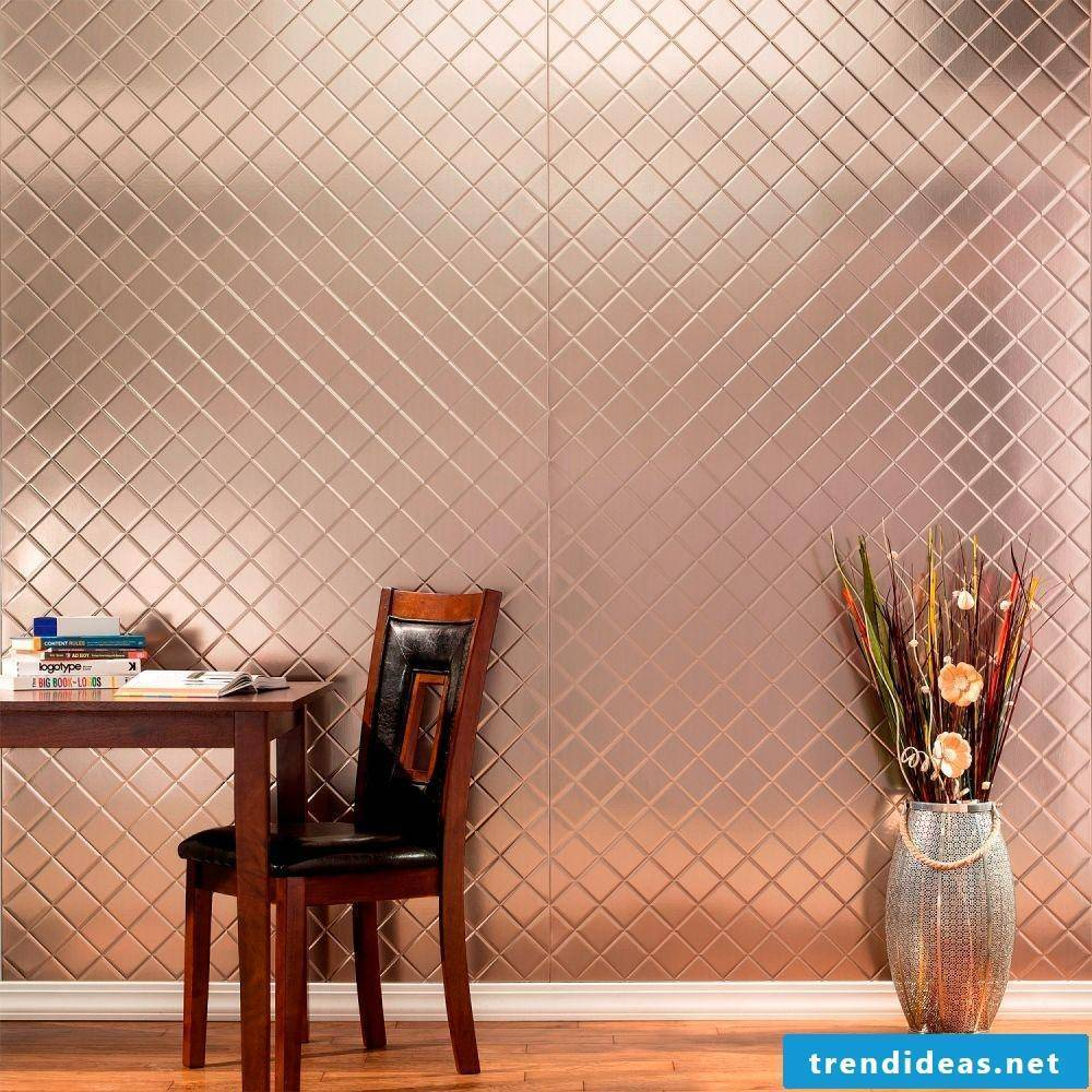 Copper wall covering kitchen