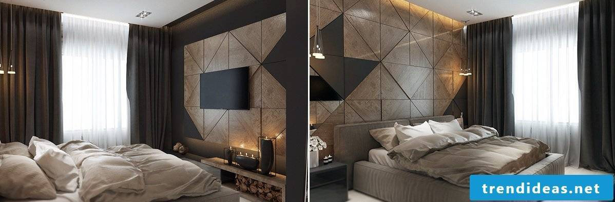 The wall panels made of wood are also considered a beautiful ornament in the bedroom.