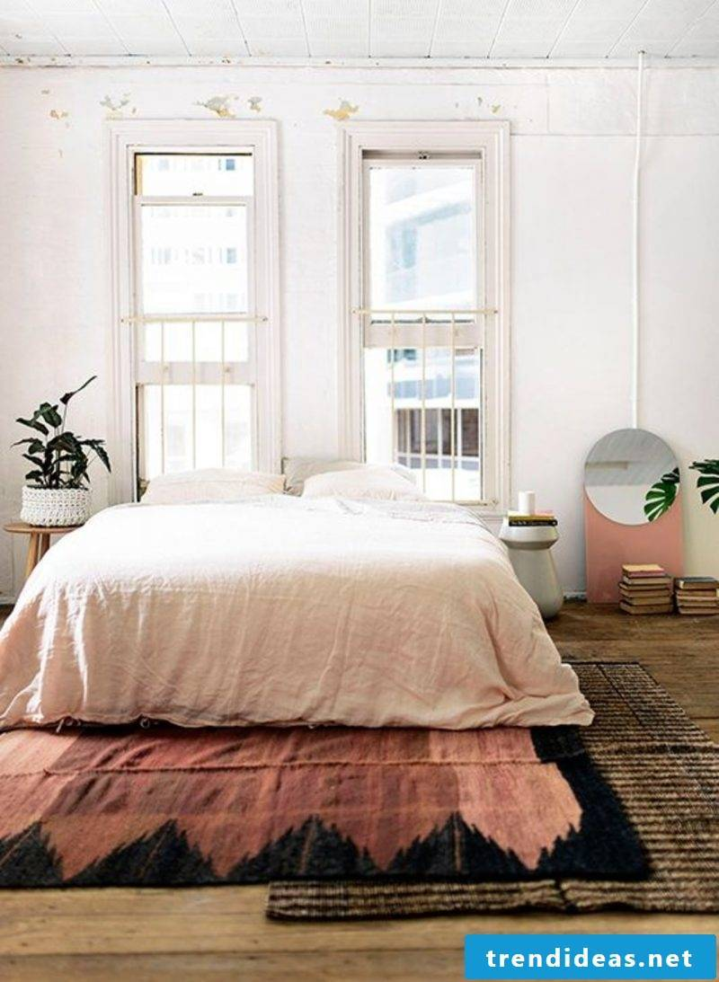 Wall design bedroom ideas pink bright wall colors optical magnification
