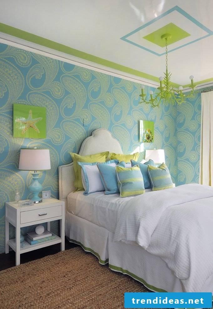 wall design bedroom ideas freshness home blue green