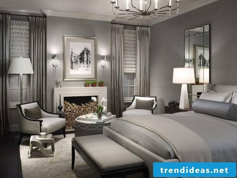 wall design bedroom ideas grays elegance