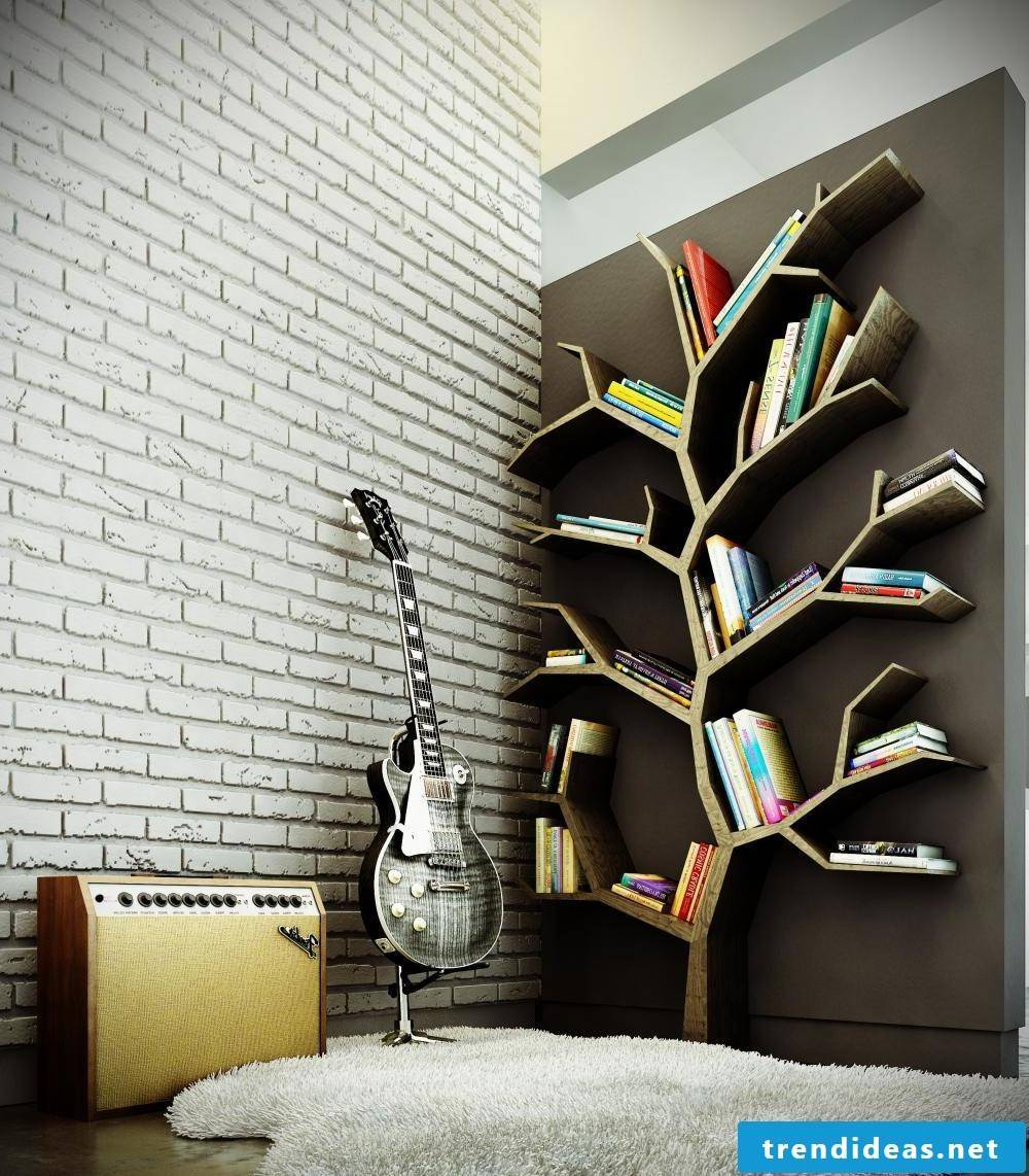 Creative wall design for living room in rock style