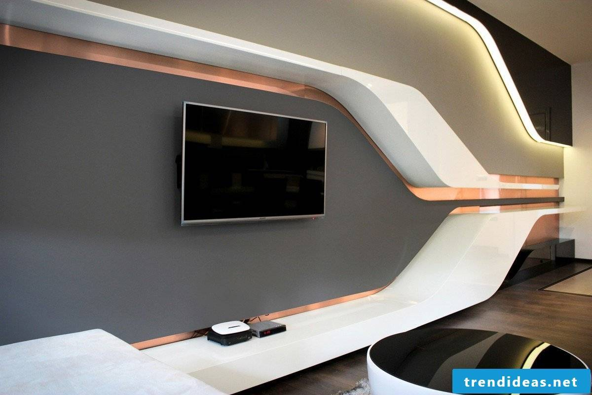 Unusual living room wall design