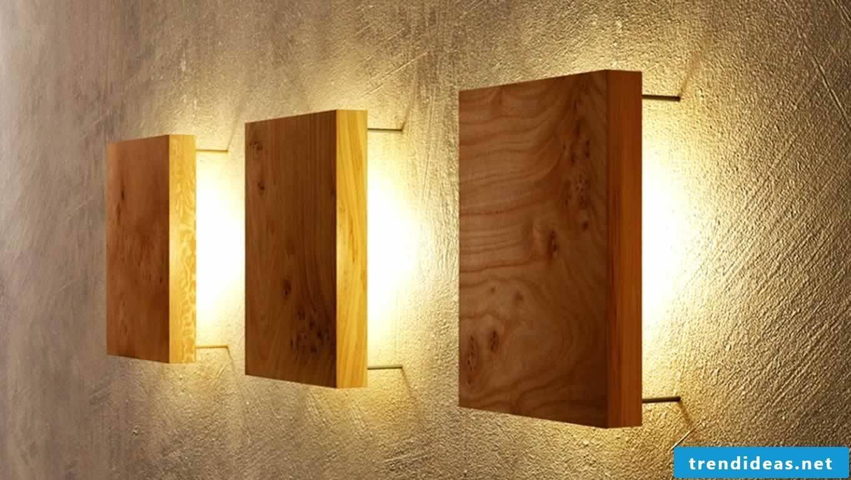 Wall lighting with wood panels