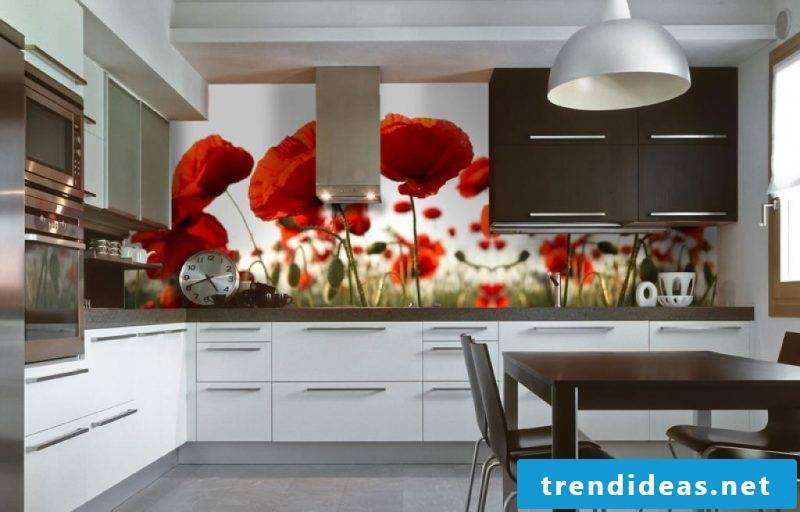 With a photo wallpaper cheap beautify the kitchen back wall