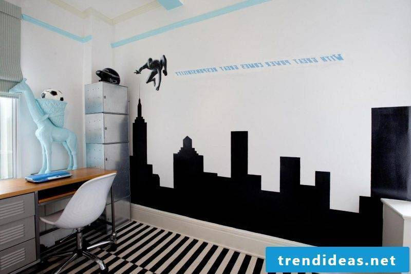 You can design mural wallpapers favorably with a saying