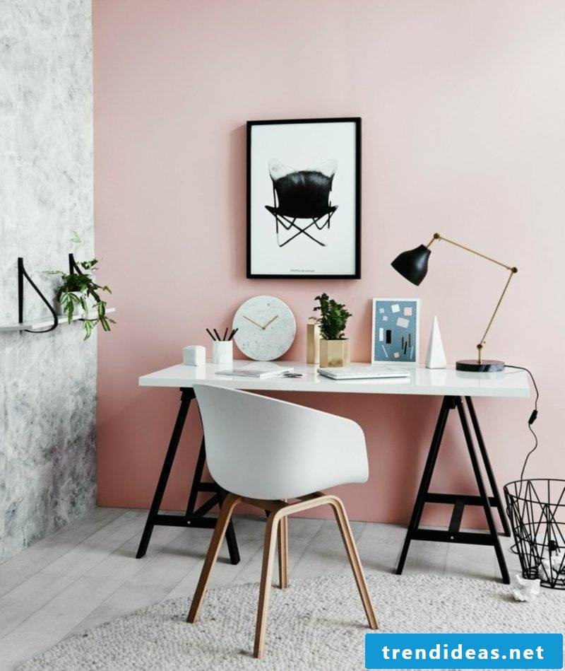 Color old rose wall study industrial style