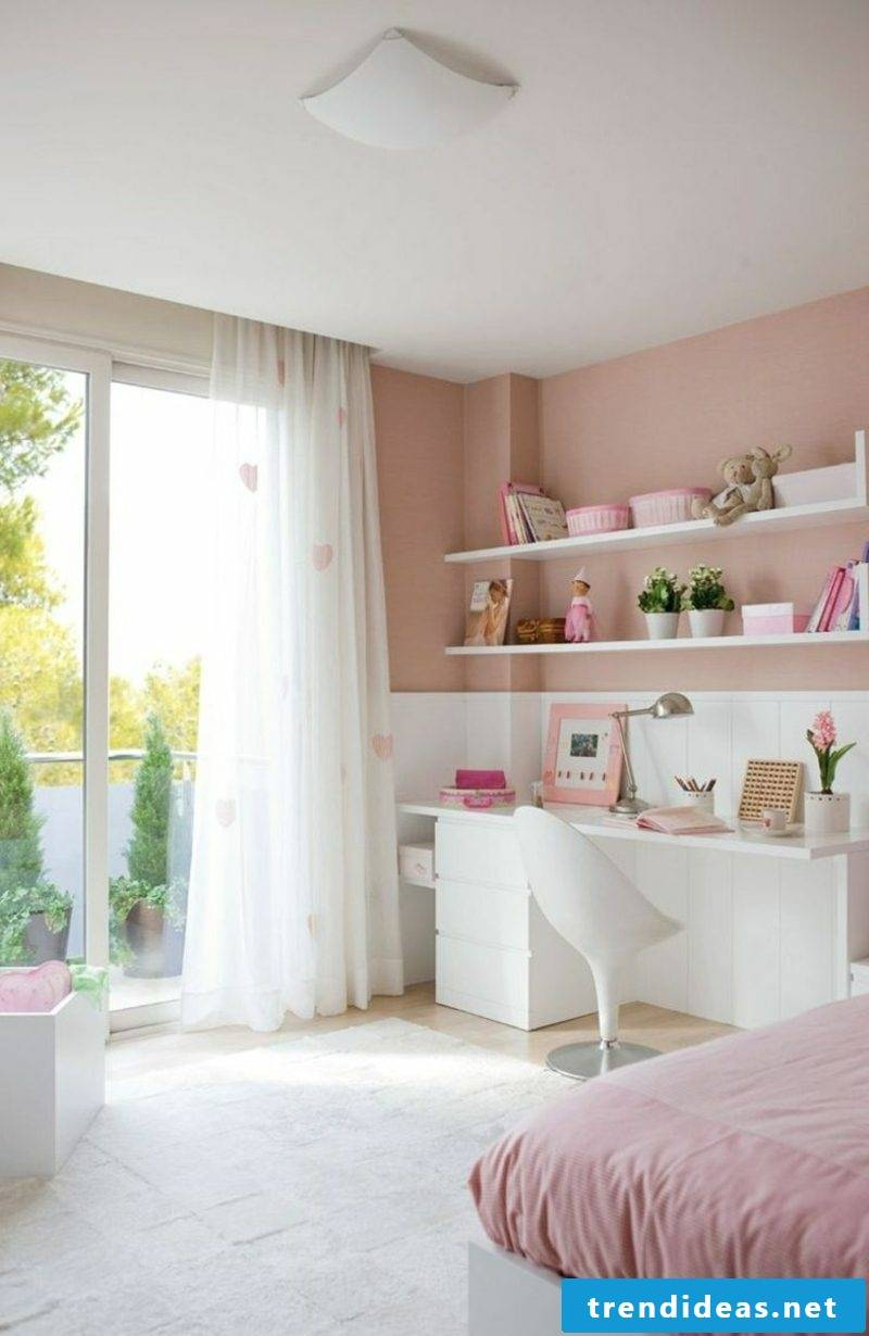 Old pink wall desk nursery