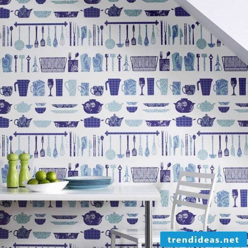 wallpaper for kitchen blue