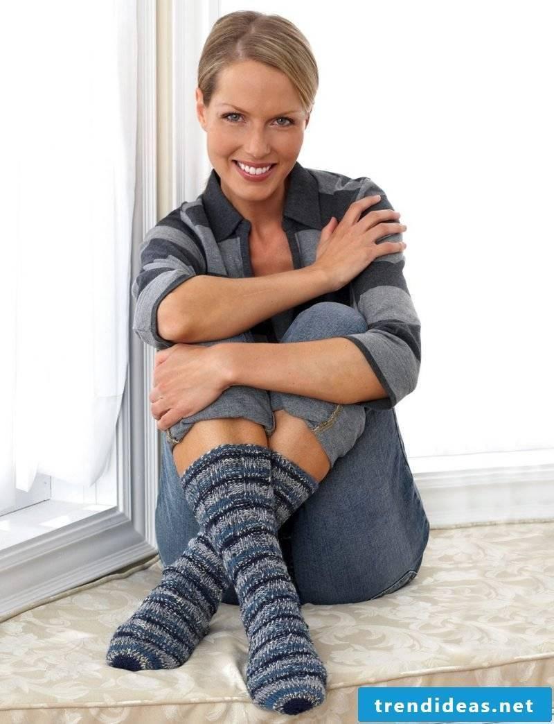 Knitted Pattern for Socks: Pattern for Home Socks