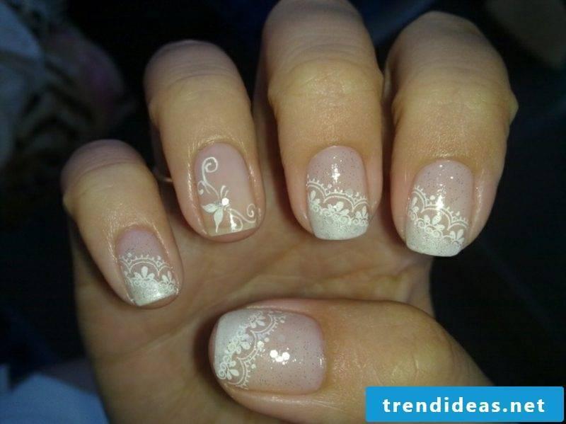 Fingernails design wedding modern lace pattern