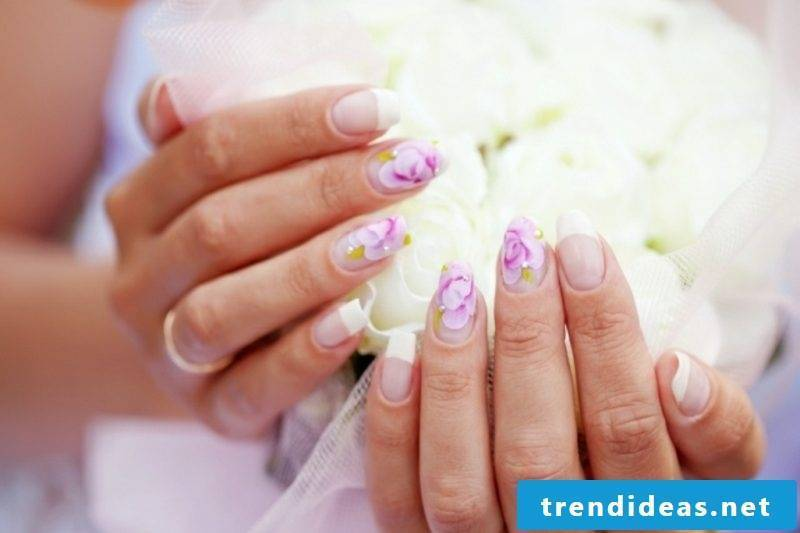 Nail art design wedding French rhinestones roses gorgeous esign
