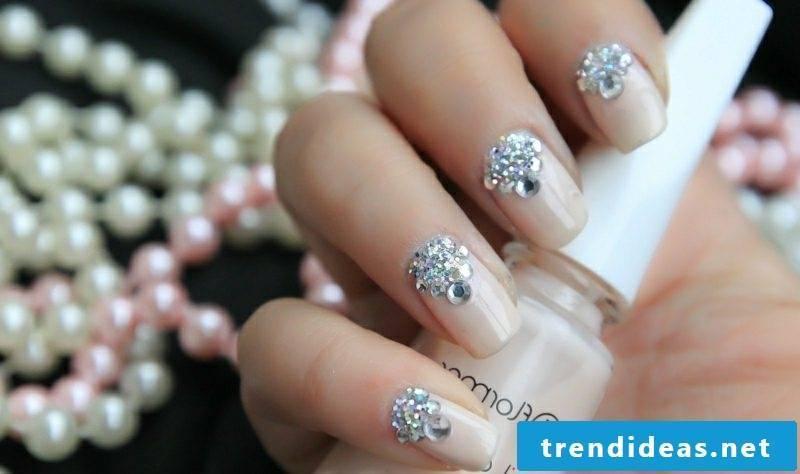 Nail art design with stones wedding elegant look