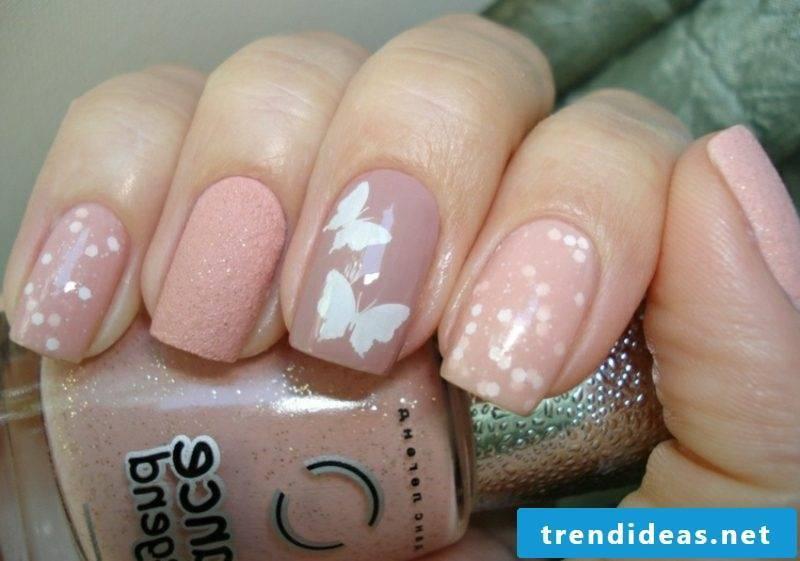 Nail art design wedding pink fingernails dots butterflies