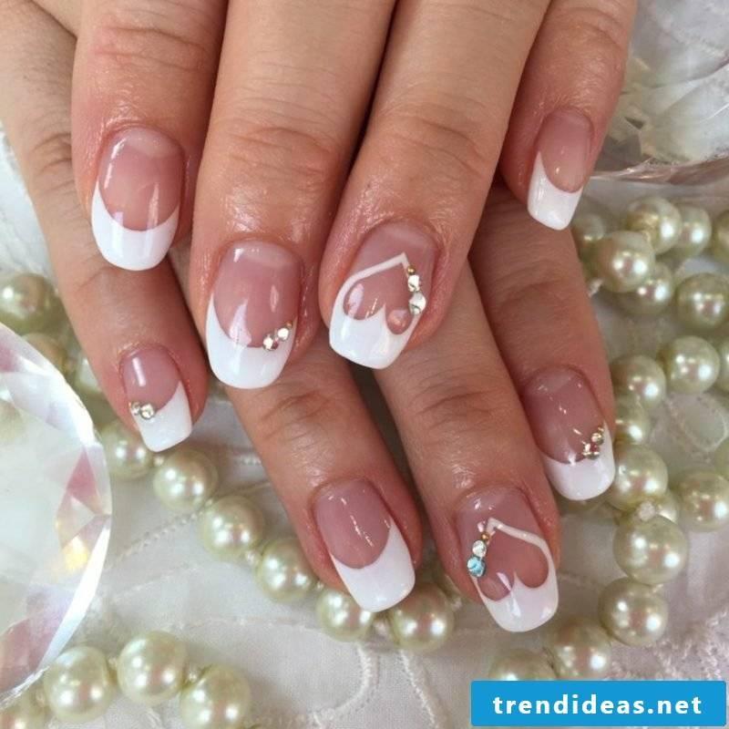 Nail art French wedding heart glitter stones romantic