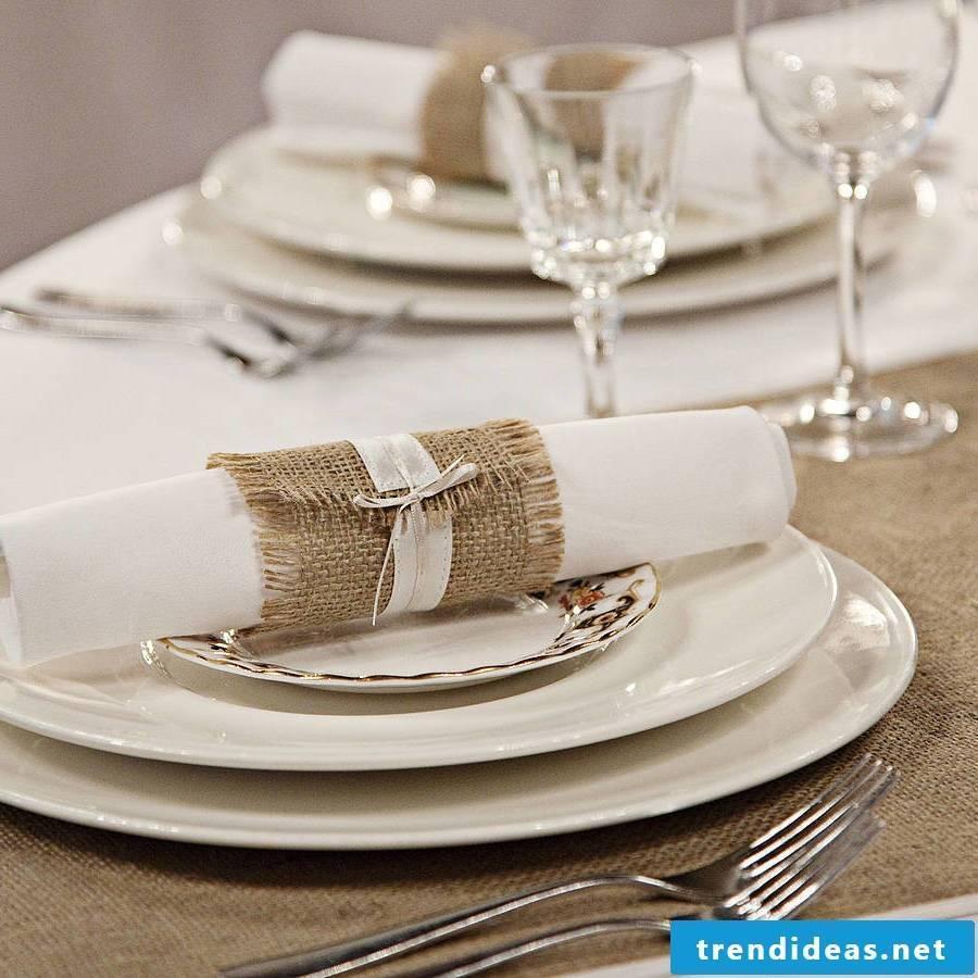 white wedding napkins