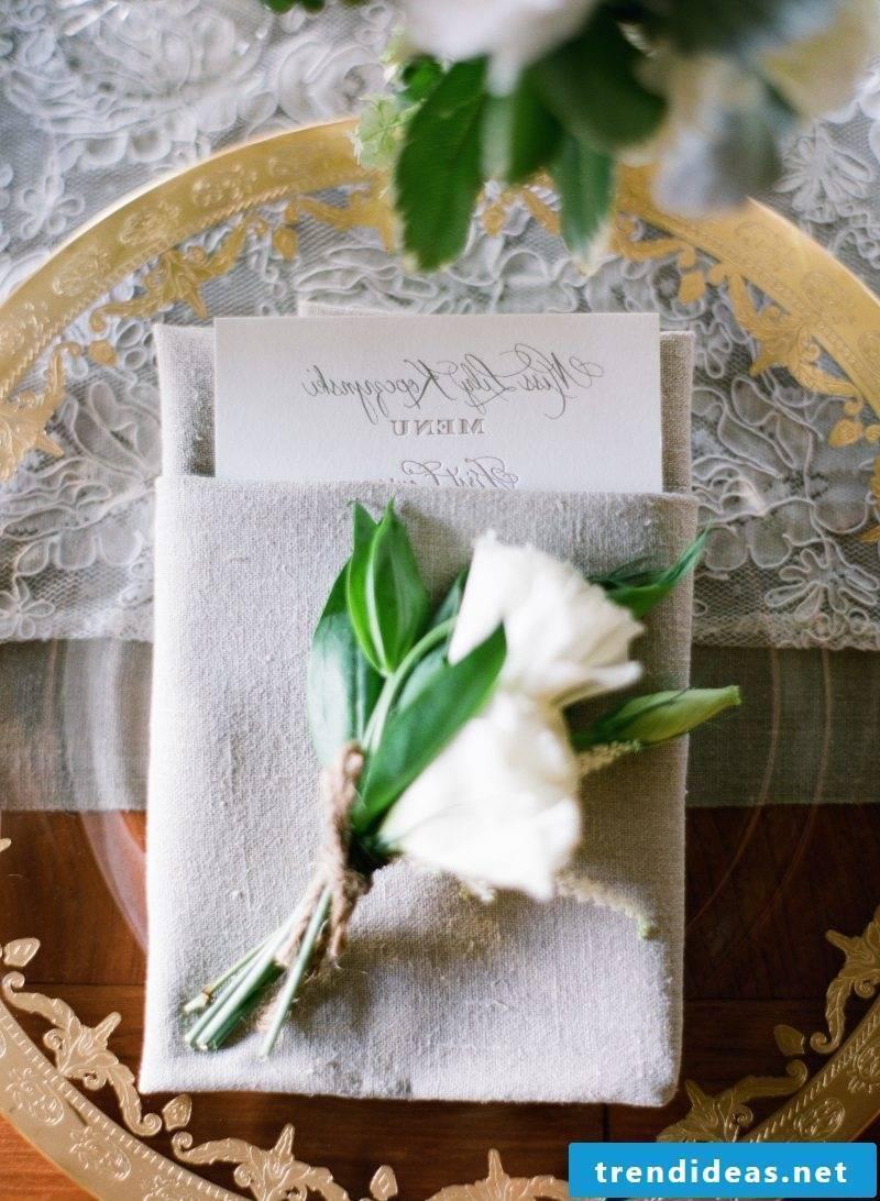 folded wedding napkins