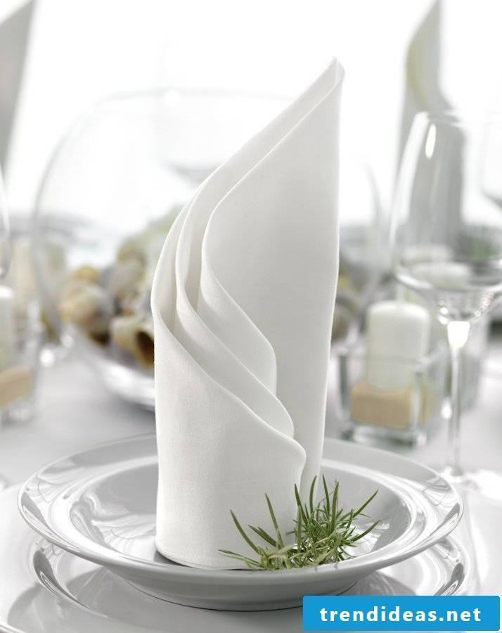 wedding napkins turned fan