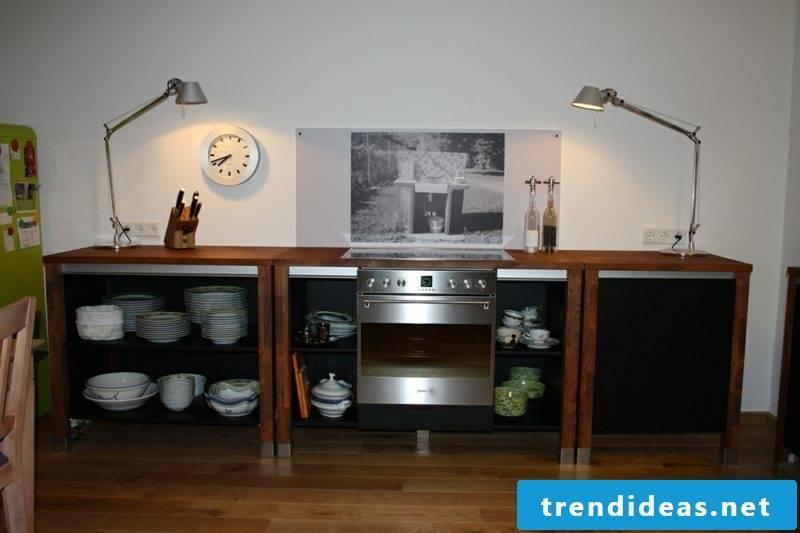Modular kitchen three elements wood black