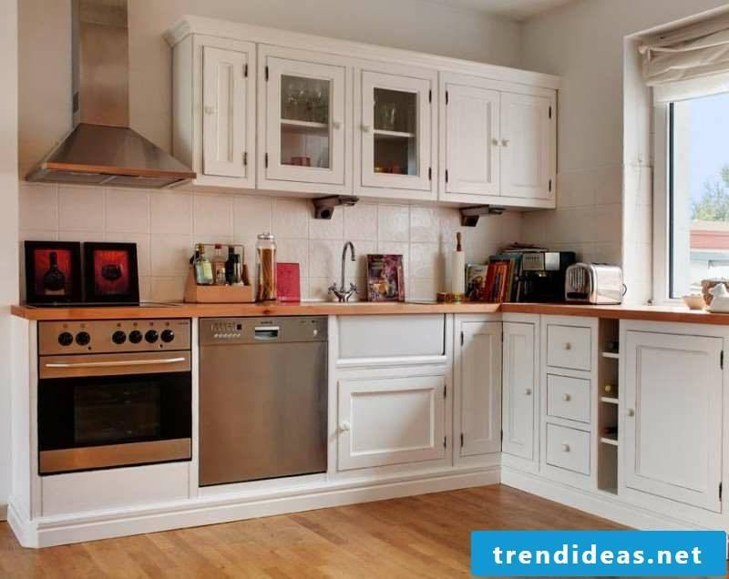 Modular kitchen in white wood classic look