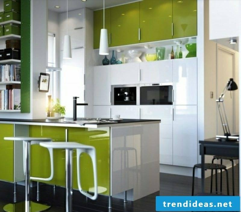 Modular kitchen in green modern look