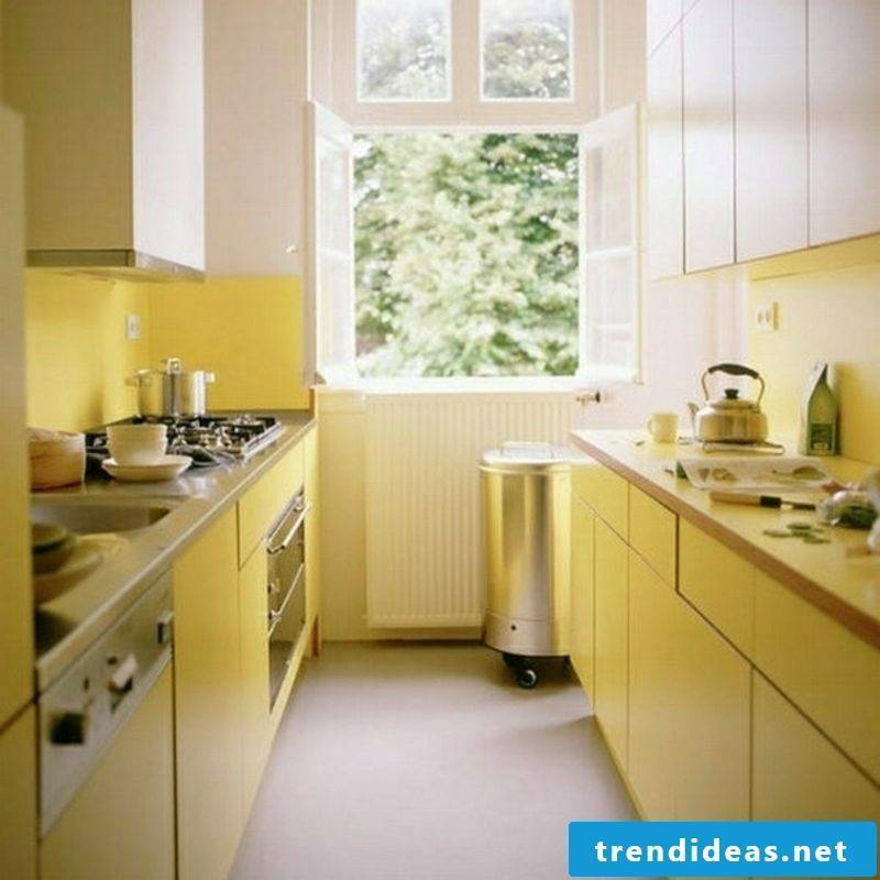 small modular kitchen in yellow