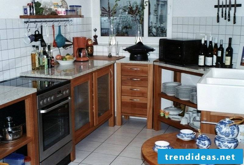 small modular kitchen made of wood