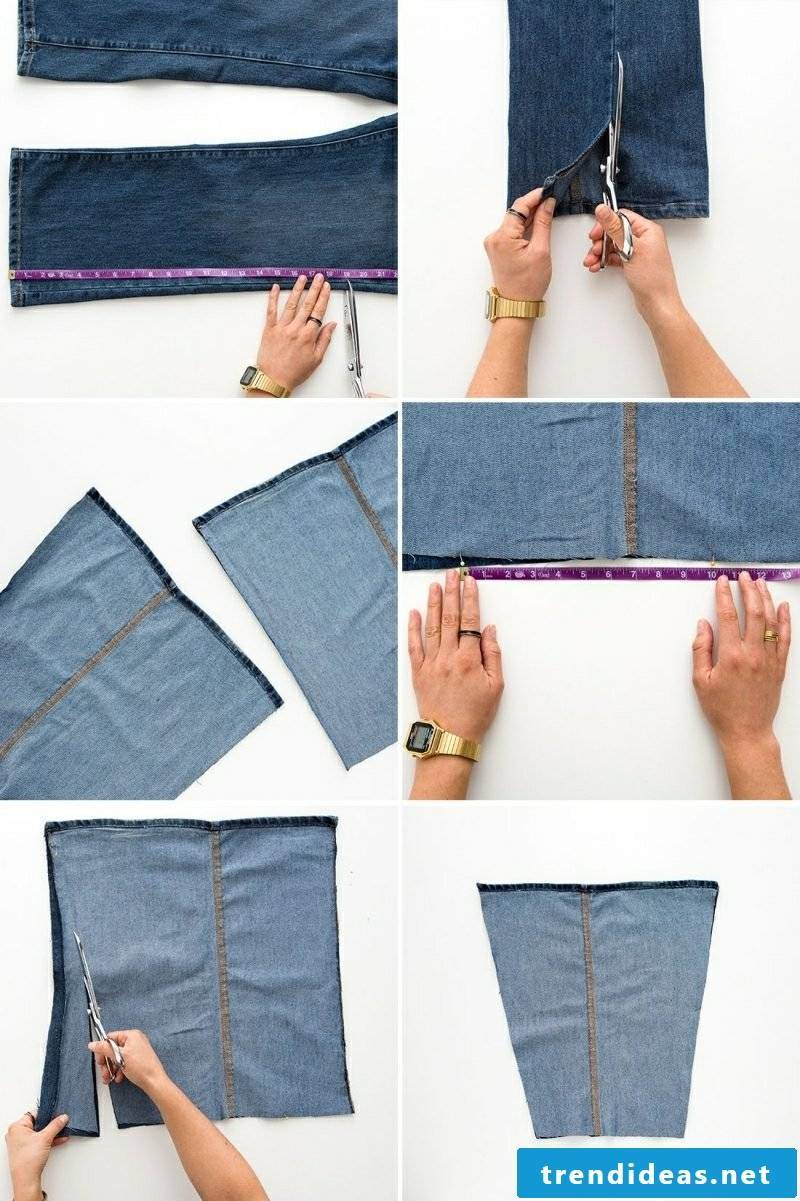 what can you make from old jeans pocket cut the sides