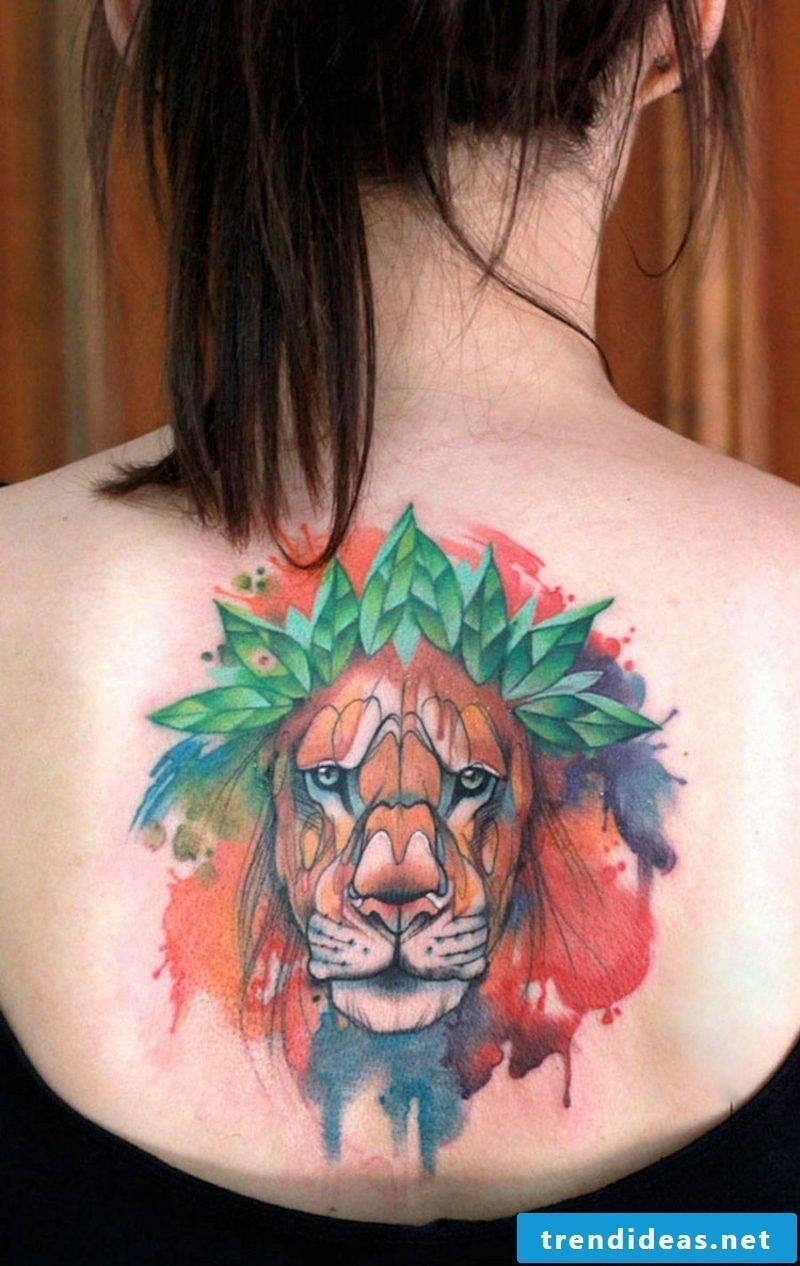 Watercolor tattoos animal pattern lion