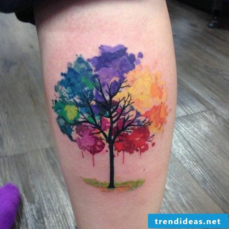 Watercolor tattoo leg gorgeous color design