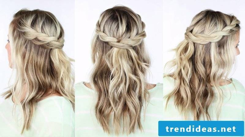 braided hair waterfall hairstyle