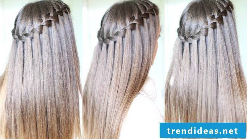 Braided hairstyles long hair waterfall braid