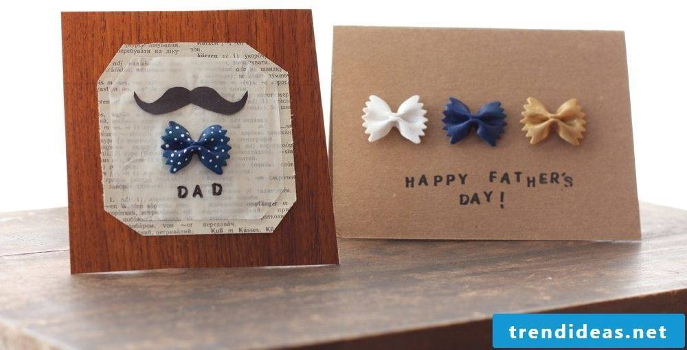 Make your own father's day card with pasta and wish your father all the best for Father's Day
