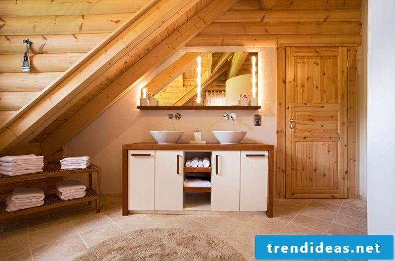 wooden vanity top in natural-modern bathroom furniture in a real wooden log cabin