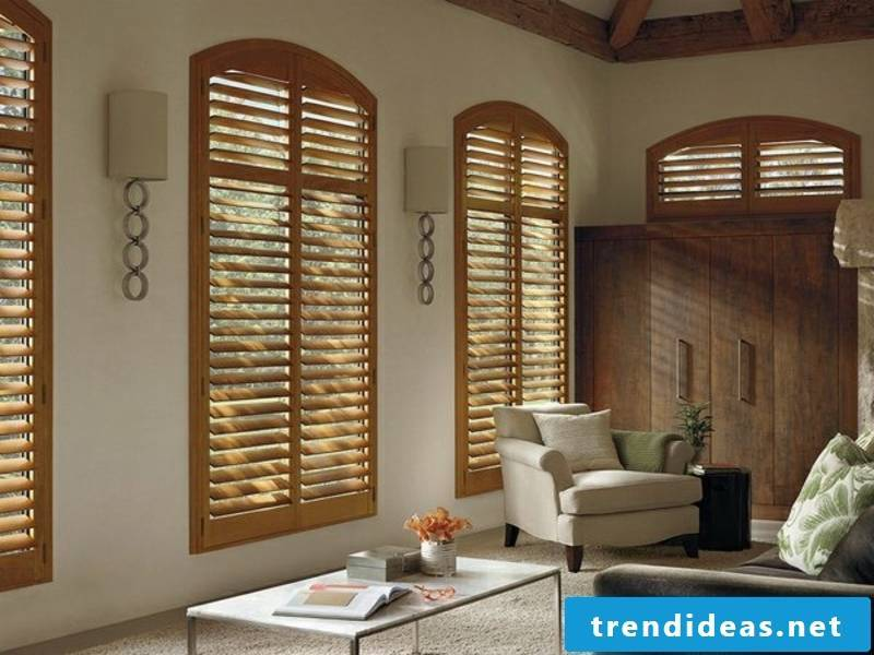 House with modern wooden blinds