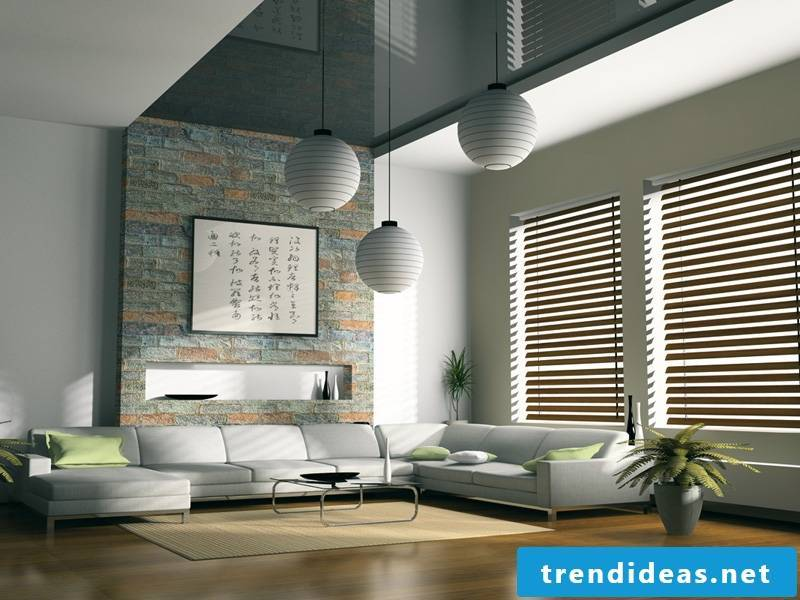 Wooden blinds for a chic white interior