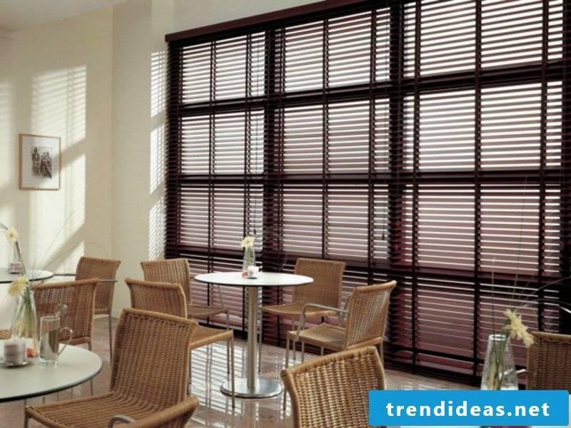 Elegant and modern wooden blinds in the restaurant