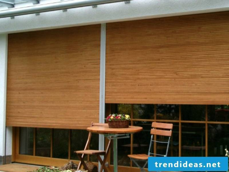 The wooden blinds as window protection