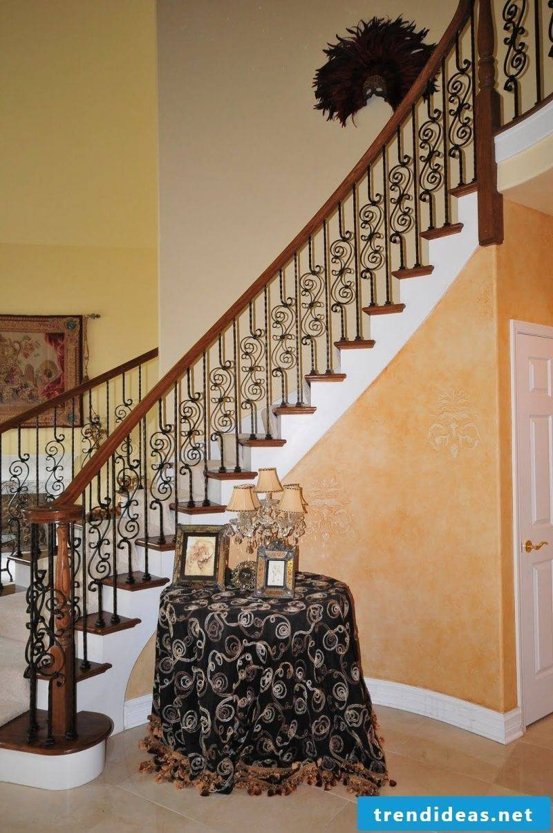 decorated wooden railing