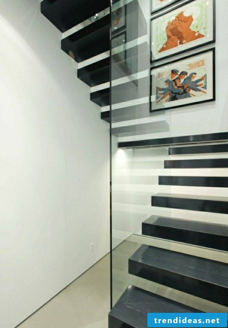 wooden staircase floating black staircase glass railing