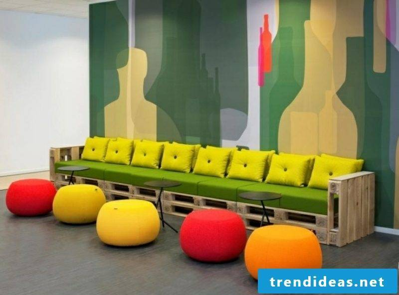 Pallet sofa colorful cushions and upholstery original
